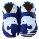 HELLOYAYA Genuine Leather Infant Shoes 全软底学步鞋★Blue Dolphin 宝石蓝海豚