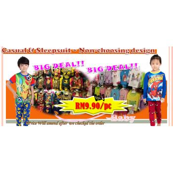 PROMO 15 - Casual or Sleepsuit NON CHOOSE DESIGN